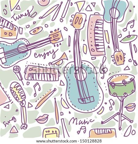vector cute music instruments - stock vector