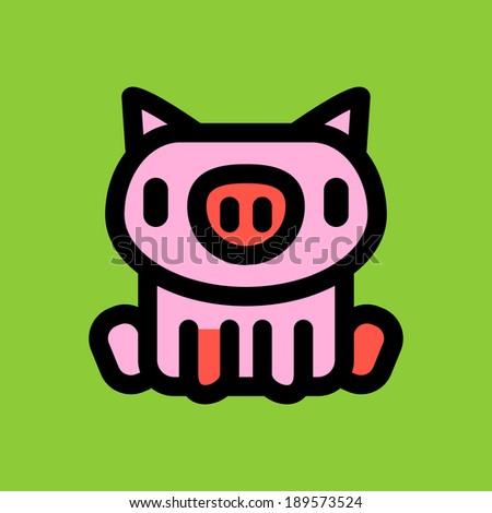 Vector cute pig - stock vector