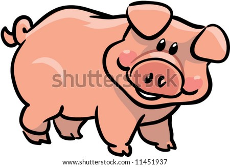 vector cute pig illustration - stock vector