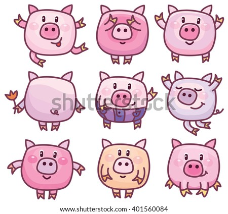 Vector cute pigs cartoons isolated. - stock vector