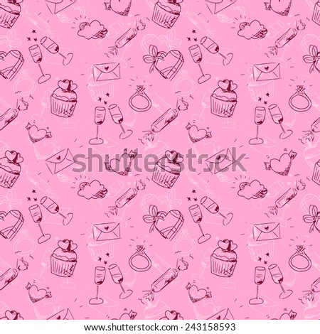 Vector cute pink sketchy Valentine's day seamless pattern