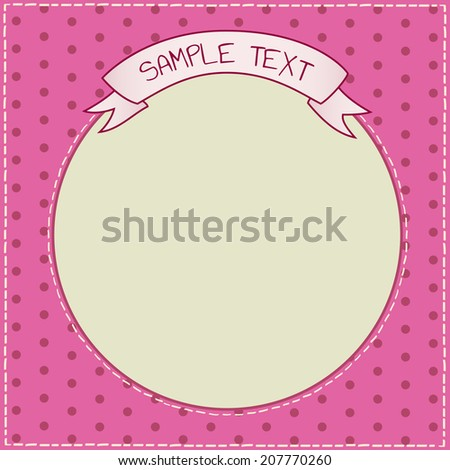 Vector cute pink stitched frame with copy space ribbon and polka dots