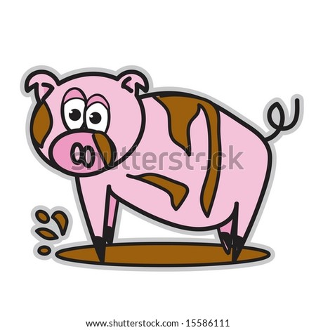 Cartoon Pig In Mud Puddle Vector cute pointy toe pink pig in mud puddle - stock vector