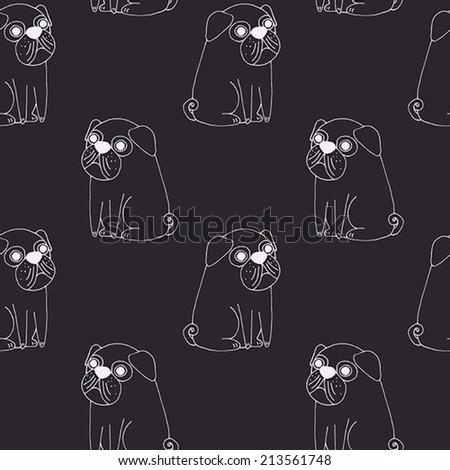Vector cute pug pattern on dark - stock vector