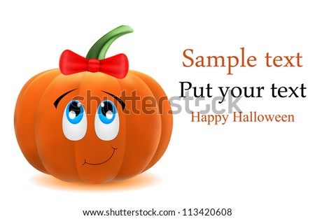 vector cute pumpkin with bow, dedicated to Halloween - stock vector