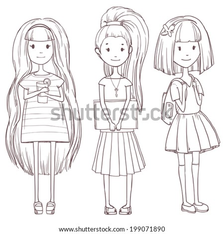 Vector cute school girls set isolated on white - stock vector