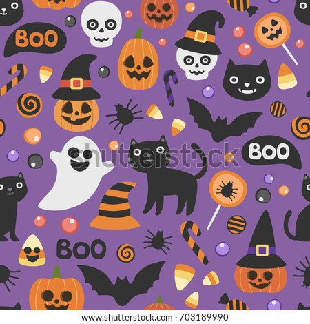Vector Cute Seamless Halloween Pattern Smiling Stock ...