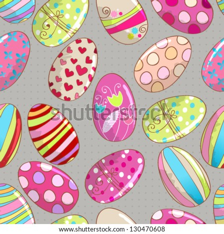 Vector cute seamless hand drawn style beautiful Easter eggs background - stock vector