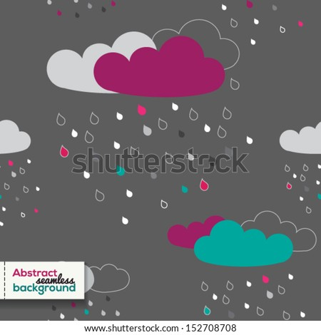 Vector cute seamless pattern with colorful rainy clouds - stock vector