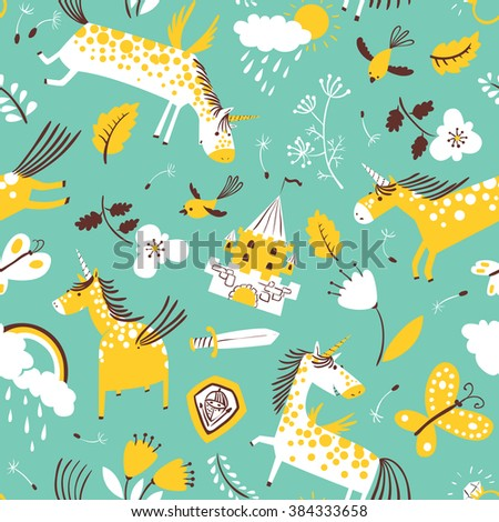 Vector cute seamless pattern with magic unicorns. Background with rainbow, clouds with rain drops, flowers and tulips, butterfly, birds and dandelion's seeds, medieval castle, leaves, sword and shield - stock vector