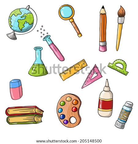 Vector cute sketchy doodle back to school icons - stock vector