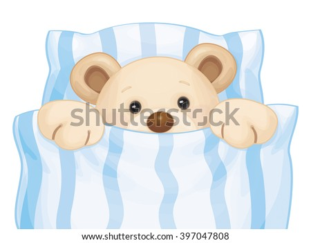 Vector cute sleeping baby bear in bed. - stock vector
