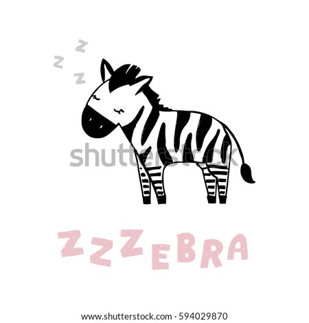 Vector cute sleeping zebra illustration clip art isolated on white background