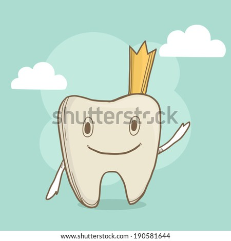 Vector cute smiling tooth with crown on abstract background. First baby tooth - stock vector