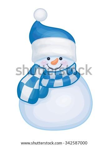 Vector cute snowman isolated. - stock vector