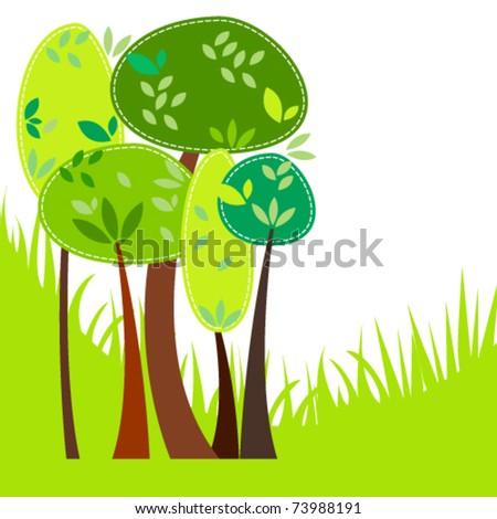 Vector cute spring trees illustration - stock vector
