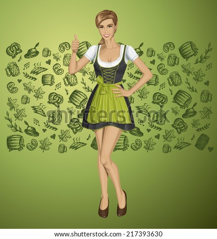 Vector cute woman in drindl on oktoberfest shows well done - stock vector