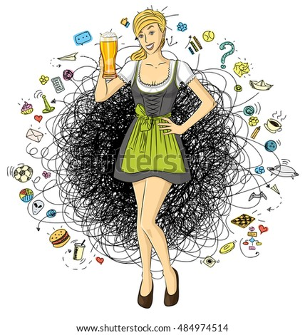 Vector cute woman in drindl on oktoberfest with beer in her hand
