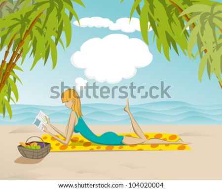 Vector cute woman reading the book on the beach, and dreaming - stock vector