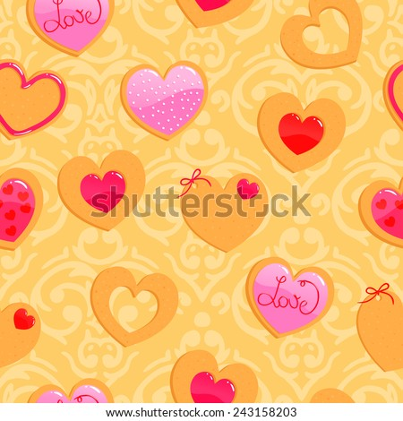 Vector cute yellow seamless Valentine's Day pattern with heart shaped cookies