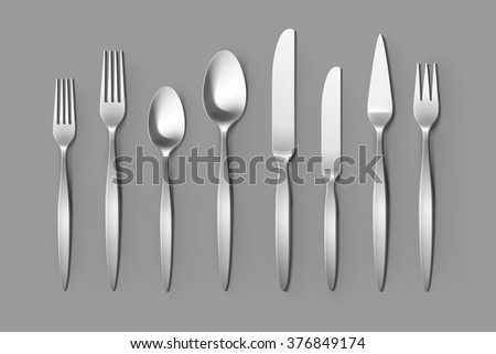 Vector Cutlery Set of Silver Forks Spoons and Knifes Top View Isolated on Background. Table Setting
