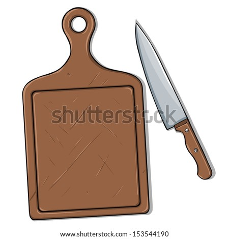 vector cutting board and knife - stock vector