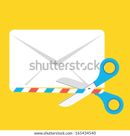 Vector Cutting Envelope with the Scissors Icon - stock vector