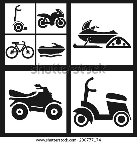 vector cycle icon set. Bicycle, quadcycle, monocycle, bike, scooter, snowmobile.  - stock vector