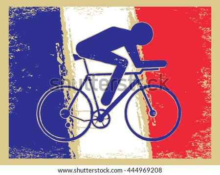 Vector cycling illustration - abstract figure of cyclist on a bike and France national flag. Active sports background - cycle race. - stock vector