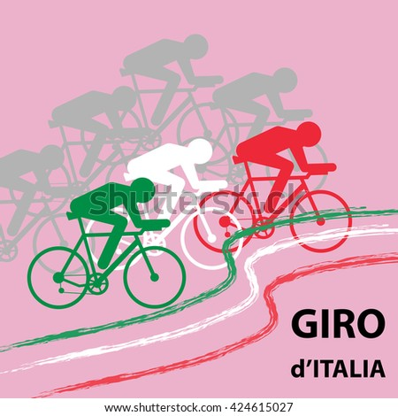 "Vector cycling illustration - abstract figure of cyclist on a bike and Italy national flag. Signature ""Race around Italy"". Giro d'Italia cycle race concept"