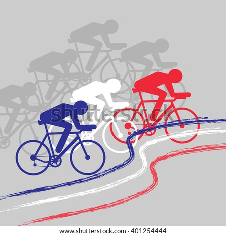 Vector cycling illustration - banner with abstract figure of cyclist on a bicycle with colors of France, Russia and The Netherlands national flag. Blue, white and red colours