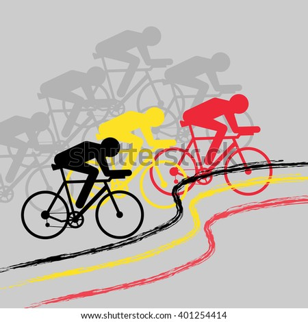 Vector cycling illustration - banner with abstract figure of cyclist on a bicycle with Germany and Belgium national flag. Belgian race