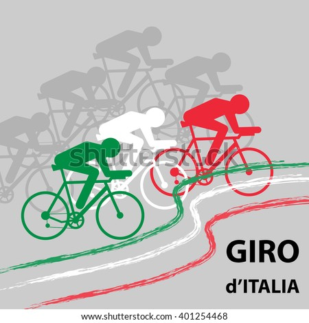 "Vector cycling illustration - banner with abstract figure of cyclist on a bike and Italy national flag. Cycle race ""Giro d'Italia"" - stock vector"