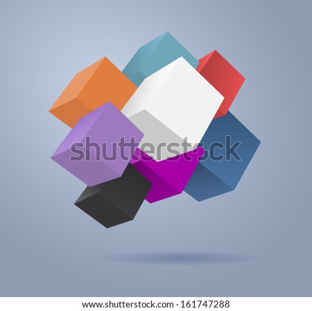 Vector 3d abstract background. Colored cubes - stock vector