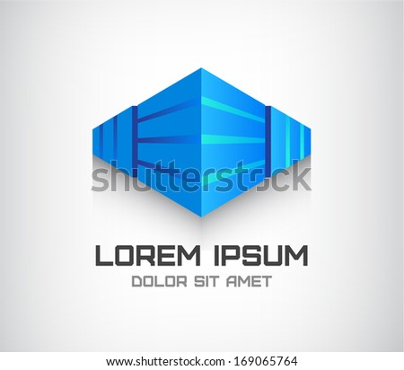 vector 3d abstract cube logo, office building in perspective - stock vector