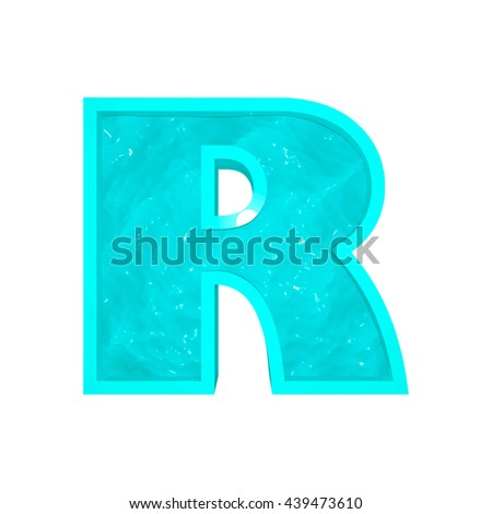 Vector 3d aqua font letter R stylized as swimming pool.