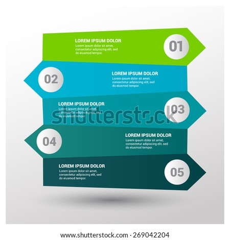 Vector 3d arrows left and right side infographic. Template for diagram, graph, presentation and chart. Business concept with 5 options, parts, steps or processes. Abstract background.