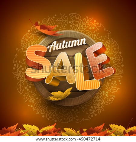 Vector 3d autumn sale design with wood background and leaf icon frame. - stock vector