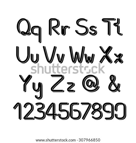 Vector 3D black font alphabet - simple capital and small letters - stock vector