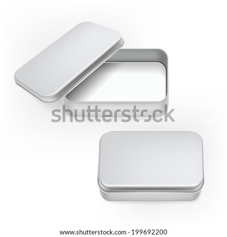 vector 3d blank metal box template isolated on white background - stock vector