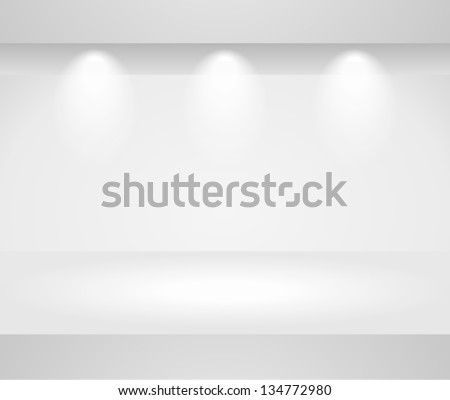 Vector 3d blank template of exhibition gallery stand wall with reflection on light background. Image contains transparent lights and shadows. 10 EPS - stock vector
