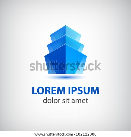 vector 3d blue office building icon, logo isolated - stock vector