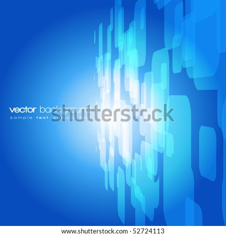 Vector 3D blue on the orange background with text - stock vector