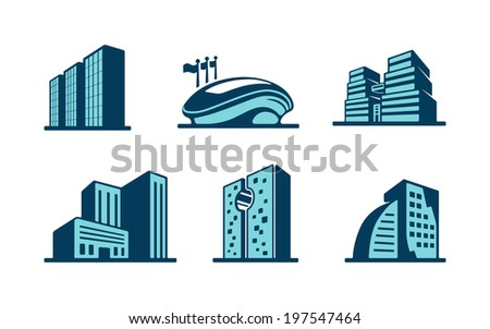 Vector 3d building icons set with six different modern skyscrapers  high-rise buildings and a sports stadium isolated on white - stock vector