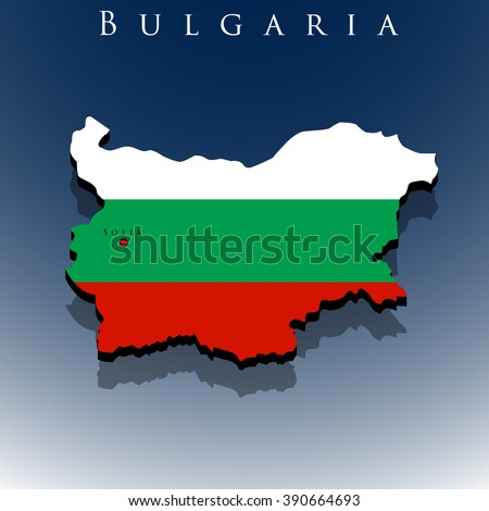 vector 3d Bulgaria map with a flag on a blue background, EPS 10