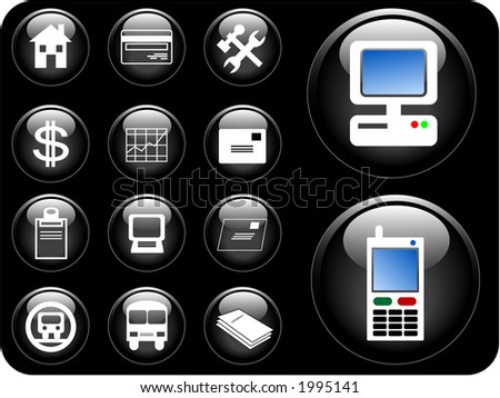 Vector 3D buttons of communication, transportation, property and finance. - stock vector