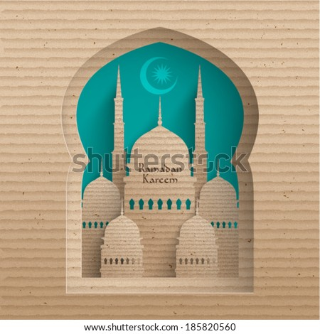Vector 3D Cardboard Mosque. Translation: Ramadan Kareem - May Generosity Bless You During The Holy Month. - stock vector