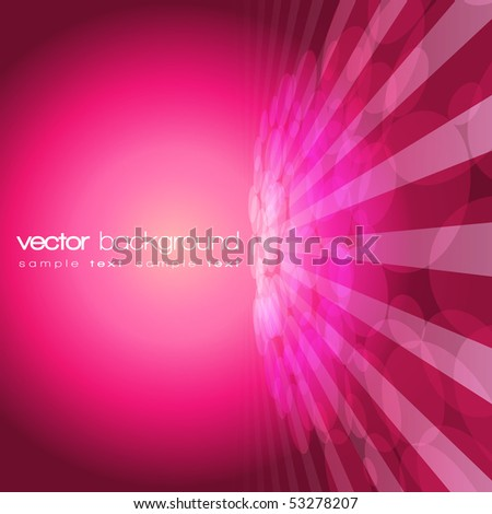 Vector 3D circle and perspective lines on the purple background with text - stock vector