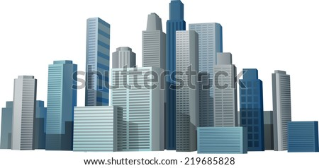 Vector 3d cityscape buildings background eps 10 - stock vector