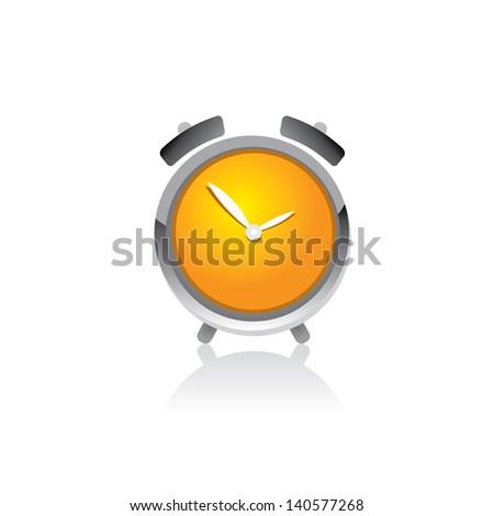 vector 3d clock Icon. orange glossy alarm clock. - stock vector